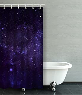 Emvency Shower Curtain Waterproof Starry Night Sky Cotton Sofa With Plastic Hooks Polyester Fabric Adjustable