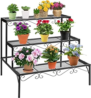 DOEWORKS 3 Tier Stair Style Metal Plant Stand, Garden Shelf for Large Flower Pot Display Rack Indoor Outdoor, Black