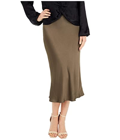 bobi Los Angeles Black Label Textured Woven Skirt (Army) Women