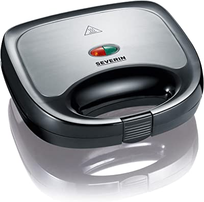 Severin Sandwich Toaster with 600 W of Power SA 2969, Brushed Stainless Steel-Black