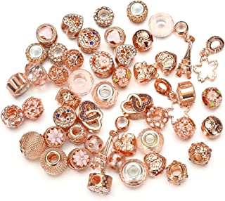 Assorted Silver Tone Charms Rhinestones Bead Charms Murano Glass Beads and Spacers Pack of 50