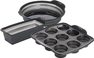 Tefal 24 cm Crispybake Set 3 Manqué Cake 24cm + 9 Muffins Rétractable30x29cm Moule à Gâteau Silicone 100% Platinium Haute...