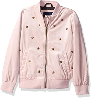 Girls' Velvet Bomber Jacket with Stars