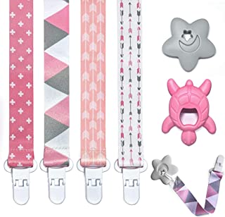 Pacifier Teether Clips 4 Pack for Girls with teether 2 Packs