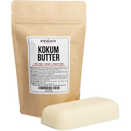 Kokum Butter - Light, Firm Butter, Use to Make Soap, Lotion Bars, Lip Balm, Body Butter - Scent-Free - 8 oz by Better Shea Butter