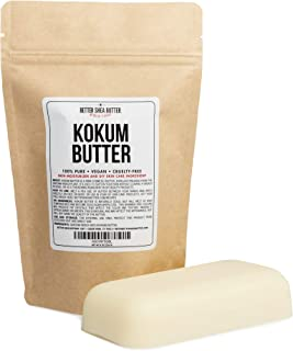 Kokum Butter - Light, Firm Butter, Use to Make Soap, Lotion Bars, Lip Balm, Body Butter - Scent-Free - 8 oz by Better Shea...