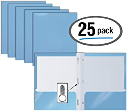 2 Pocket Glossy Light Blue Paper Folders with Prongs, 25 Pack, by Better Office Products, Letter Size, High Gloss Light Blue Paper Portfolios with 3 Prong Fasteners, Box of 25, Light Blue