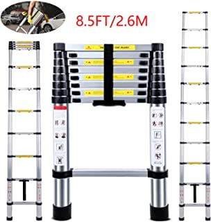 Telescoping Ladder Jason 8.5FT | 2.6M Max Load 330lbs Aluminum Ladder Extendable Ladder with EN131 and CE Standard [Step A +++](8.5FT/2.6M)