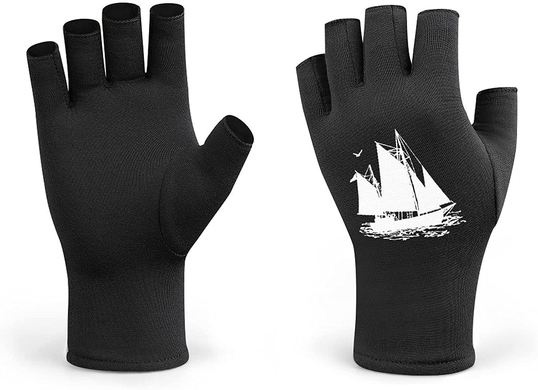 Sailing Boat Long Men Cycling Gloves Half Finger Women Winter Knitted Fingerless Lightweight Workout Short Black Gloves for Bike Mountain Shooting Hunting