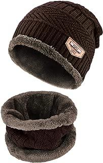 BeanieHat Scarf Set Winter Warm Fleece Lined Skull Cap and Scarf for Men Women