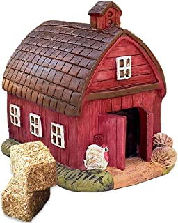 Miniature Barn and Mini Straw Hay Bale Bundle of 3 Items - 1 Fairy Garden Barn and 2 Realistic Micro Straw Bales