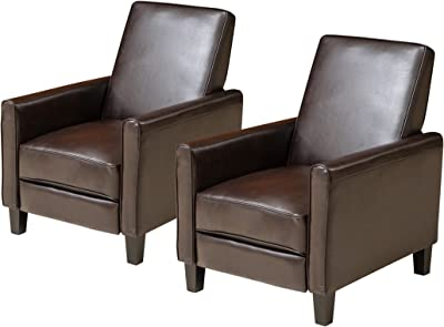 Christopher Knight Home Marshal Contemporary Bonded Leather Recliner (Set of 2), Brown and Dark Brown