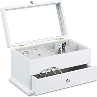 Relaxdays Jewelry Box w/ Large Mirror, Size: 15.5 x 28 x 16.5 cm Chic Jewelry Chest w/ Drawer for Necklaces and Watches Wooden Jewellery Storage Box w/ 4 Compartments and 5 Ring Holders, White