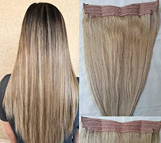 """Hair Faux You 18"""" One Piece 100% Human Hair Extensions, Halo Style with an adjustable invisible wire Fishing String,80 gra..."""