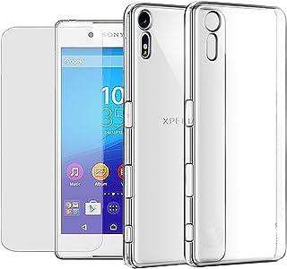 Eximmobile silikonfodral + härdat glas skärmskydd för Sony Xperia Z2 mobiltelefonfodral med 9H äkta glas skärmskydd