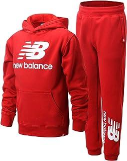 New Balance Boys' Jogger Set - 2 Piece Pullover Hoodie Sweatshirt and Sweatpants Activewear Set (Big Boy), Size 10/12, Red