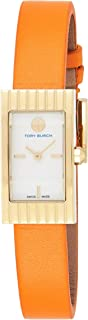Tory Burch Buddy Signature Watch, Orange Leather/Gold-Tone, Trb2003, Analog Display