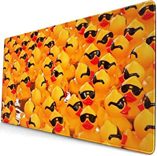 Custom Colourful Mouse Pad Rubber Ducky with Sunglasses Desk Pad Mouse Mat Protector Large Gaming Keyboard Mat Large Mousepad Non Slip Rubber Base 15.7 X 29.5 Inch