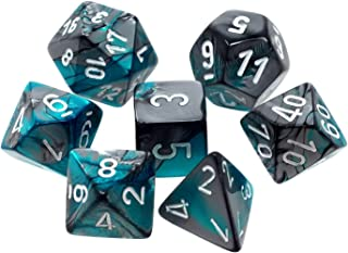 Chessex CHX26456 Dice-Gemini Steel-Teal/White Set, One Size, Multicolor
