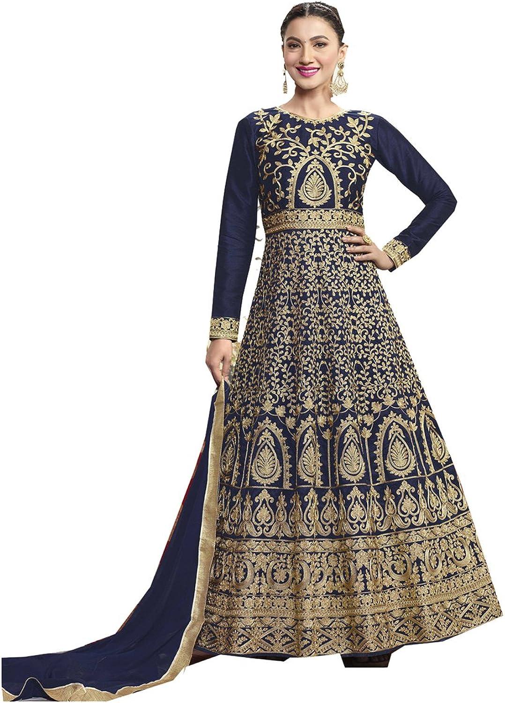 Indian Women Designer Partywear Ethnic Traditonal Deep bluee Anarkali Salwar Kameez.
