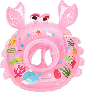 UCLEVER Inflatable Baby Pool Float Infant Crab Seat Boat Swim Ring with Handles (Pink)