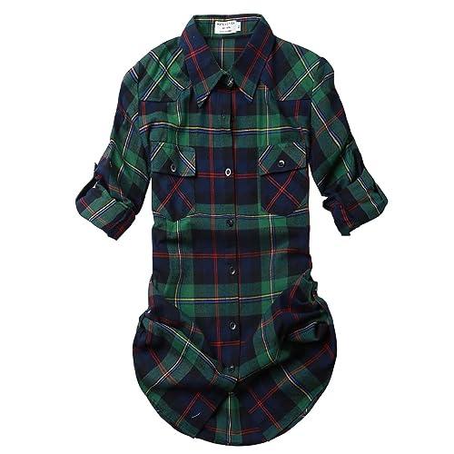 f59eee184ed Match Women s Long Sleeve Flannel Plaid Shirt