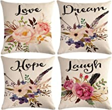 "Watercolor Flowers Throw Pillow Covers Floral Leaves Cushion Covers Love-Laguh-Hope-Dream Home Decorative Pillowcase 18""×18"",4Pack(Watercolor Flowers)"