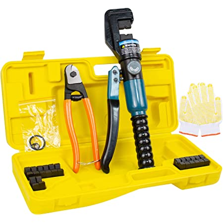 12 Ton Hydraulic Wire Battery Cable Lug Terminal Crimper Crimping Tool 10 Dies