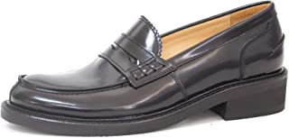 College Large Numbers Loafers in Black Abrasive Leather, Without Laces, Craftsmanship, Made in Italy