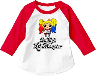 Suicide Squad Harley Quinn Daddy's Lil Monster (RGL) Unisex Child 3/4 Sleeve Raglan Children