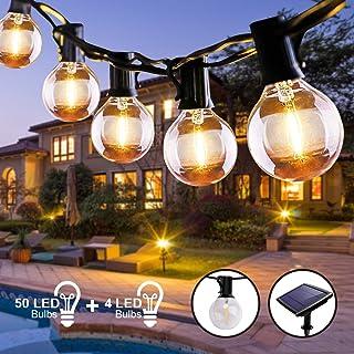 Guirnalda Luces Exterior Solar, QXMCOV 15.2 m Cadena de Luz 50 G40 LED Bombillas con 4 de Carga, Guirnaldas Luminosas Exterior e Interior Decorativas para Jardin TerrazaHabitacion Fiestas Navidad