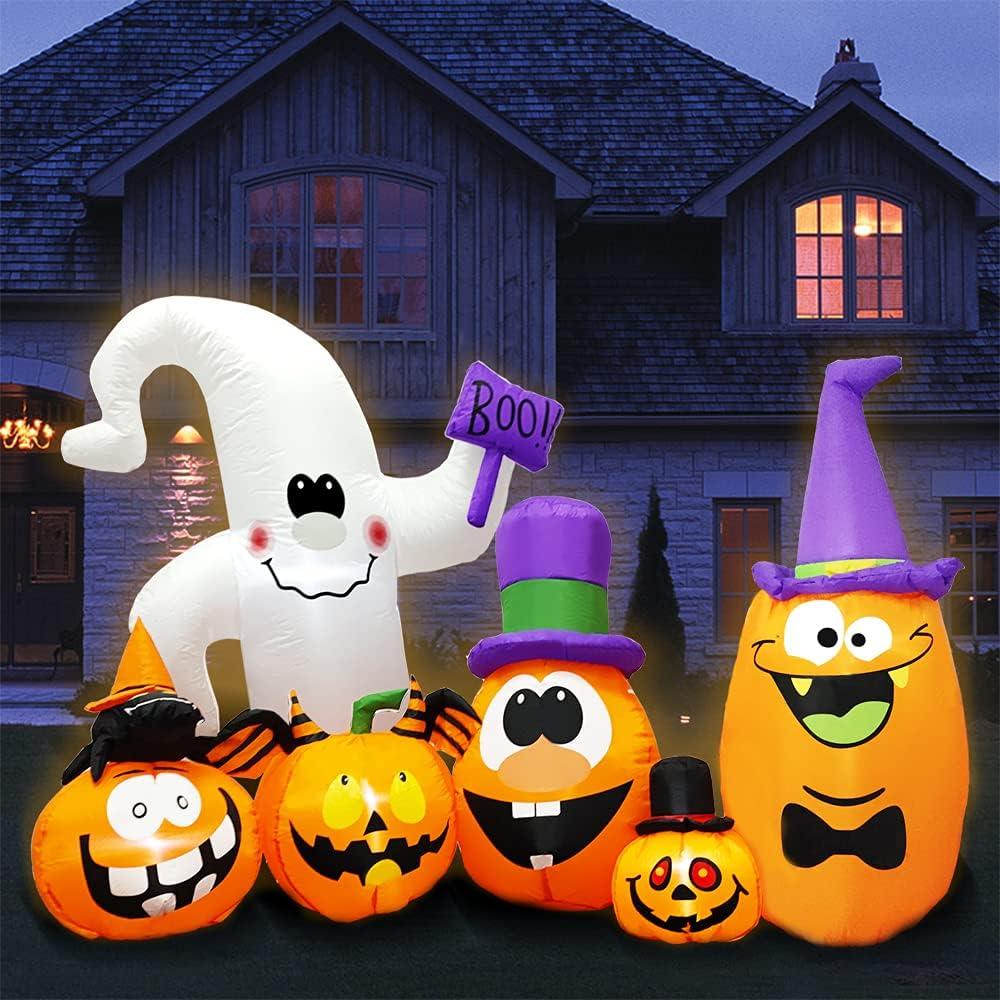 "discount Yostyle 8FT Long Halloween Inflatables Cut 63"" with Phoenix Mall Pumpkin"