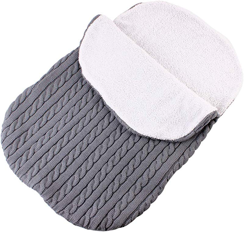 Baby Swaddle Blanket Wrap Baby Sleeping Bag Kids Toddler Knit Blanket For 0 12 Month Grey