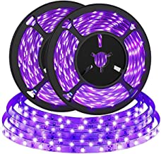 2M (2 Pack) UV LED Zwarte Lichtstrip, Bomcosy 4.5W Draagbare Zwarte UV Strip Verlichting, Paars LED strip voor Poster, Pos...