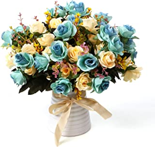 LY EMMET Artificial Rose Bouquets with Ceramics Vase Fake Silk Rose Flowers Decoration for Table Home Office Wedding-Blue