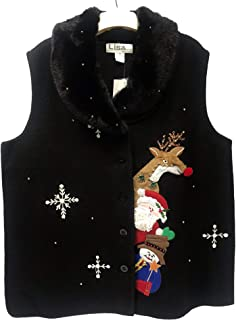 Women's Ugly Christmas Sweater Vest / 100% Boiled Wool - Plus Size