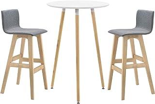 5bfab453c883 [en.casa]®] Mesa de Bar Ø 70 x 107 cm Set de 2 Taburetes Altos 98 x 48 x 49  cm Conjunto de Muebles de Cocina Comedor Diseño Retro Mesa Blanco Sillas  Grises ...