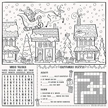 Childrens Dinner activity Christmas Placemats colour your own paper placemat