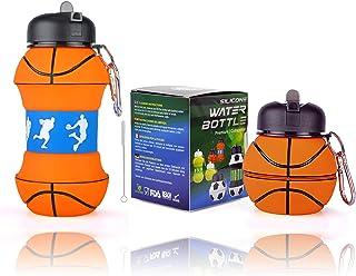 Botella de agua plegable de silicona para niños, regalo deportivo para niños, sin BPA, limpiador de pajitas, a prueba de fugas, duradera y respetuosa con el medio ambiente, 550 ml,Baloncesto.