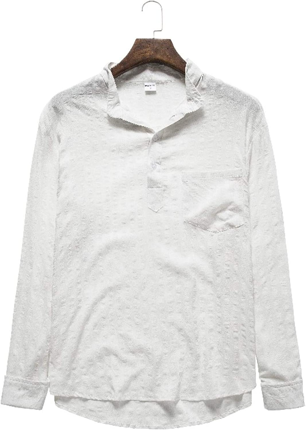 Men's OFFicial shop Shirts Spring and Autumn Long-Sl Solid Color Simple Casual Ranking TOP18