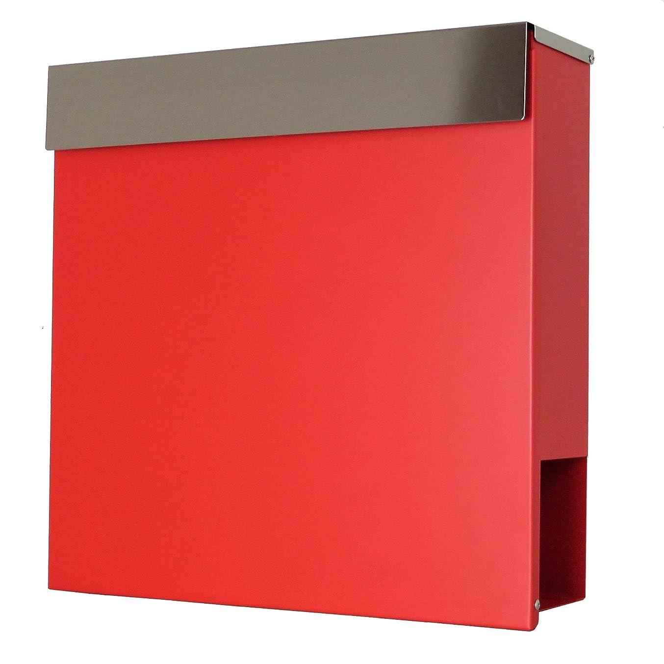 荒れ地可塑性征服するおしゃれな郵便ポスト郵便受けmailbox大型 鍵付きマグネット付きレッド 赤色ポストpm333