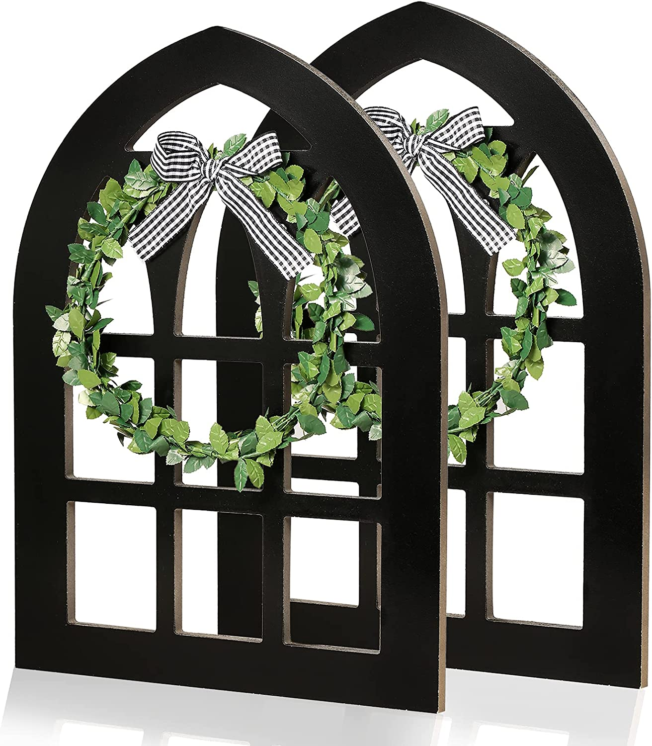 2 Pack Wooden Cathedral Arch Window Frame, Rustic Farmhouse Wall Decor, Vintage Wall Hanging Art Decorations with Bow and Green Wreath…(Black)