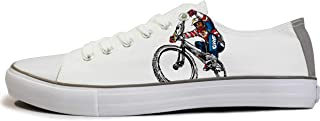 Rivir Unisex Printed Canvas Sneakers Shoes-(Ride On) (Men-UK 6) White