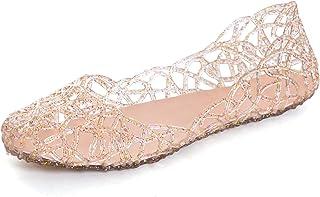 STUNNER Women's Beach Jelly Shoes Slip On Crystal Summer Soft Hollow Ballet Flats