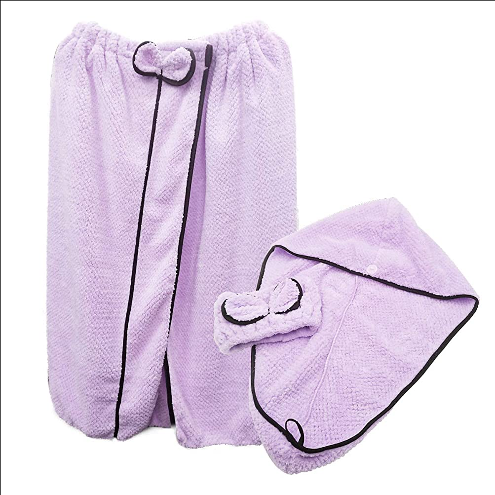 感じ縞模様の面白いふわもこ着るバスタオル バスローブ ヘッドタオル ヘッドバンド の3点セット パープル