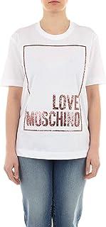 Love Moschino Cotton Jersey T-Shirt_3D Multicolor Glitter Confetti, Bianco, 48 Donna