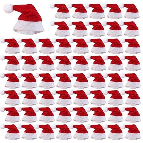 1bfadbd6348fd LONG7INES 60 Pcs Mini Christmas Hat for Lollipop Candy Cover  Mini  Christmas Santa Claus Lollipop