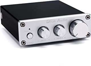 Hi-Fi Audio Amplifier, DROK 50Wx2 2.0 Channel Digital Home Stereo Power Amp DC 12-24V 2CH Class D Integrated Amplifiers with Bass Treble Volume Adjustment Knob