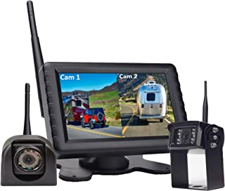 "Wireless Backup Camera System with Rear & Side View Camera,720P Reverse Backup Camera Kit with 5"" Monitor Support Split Sc... photo"