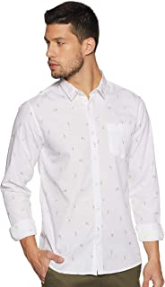 People Men's Printed Slim fit Casual Shirt
